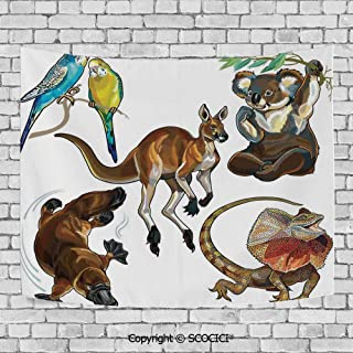 SCOCICI Popular Flexible Hot Tapestries Privacy Decoration,Tropical Animals,Koala Family on Dotted Spotted Background Marsupial Mascots of Mother Earth,Grey Blue