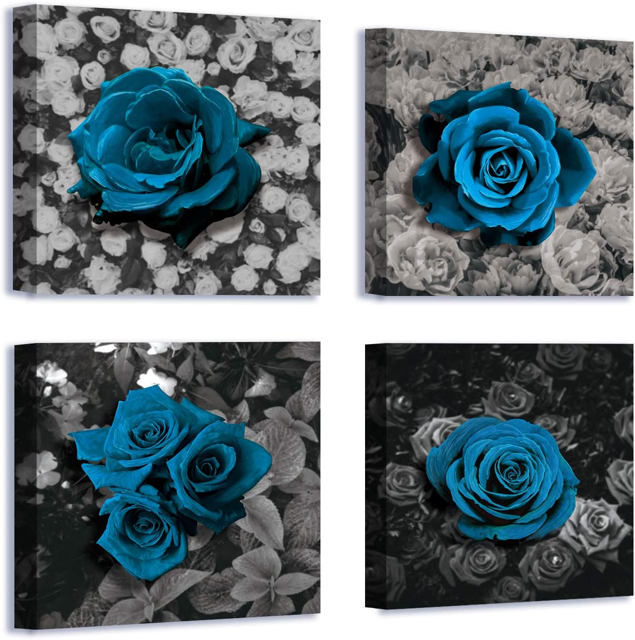 Flower Wall Art Canvas Black and White Blue Rose Framed Painting for Living Room Bathroom Home Decor Ready to Hang 12x12 inch/piece, 4 Panels…