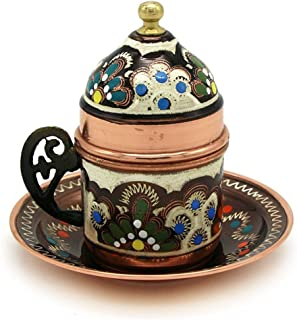 Copper Turkish Coffee Cup with Saucer and Lid