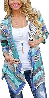 Cardigans for Women with Boho Irregular Front Hem Fashion Print 3/4 Long Sleeve S-XXL