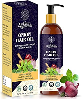 Aadidev Ayurveda Onion Oil for Hair Growth; Hair fall & Dandruff Control with Omega-3; Peppermint & 15 Essential oils - 200ml
