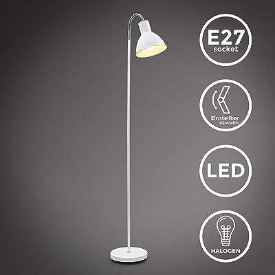 B.K.Licht lampadaire à pied métal blanc, lampe à vasque, style industriel moderne, tête inclinable, pour bureau, salle à manger salon chambre