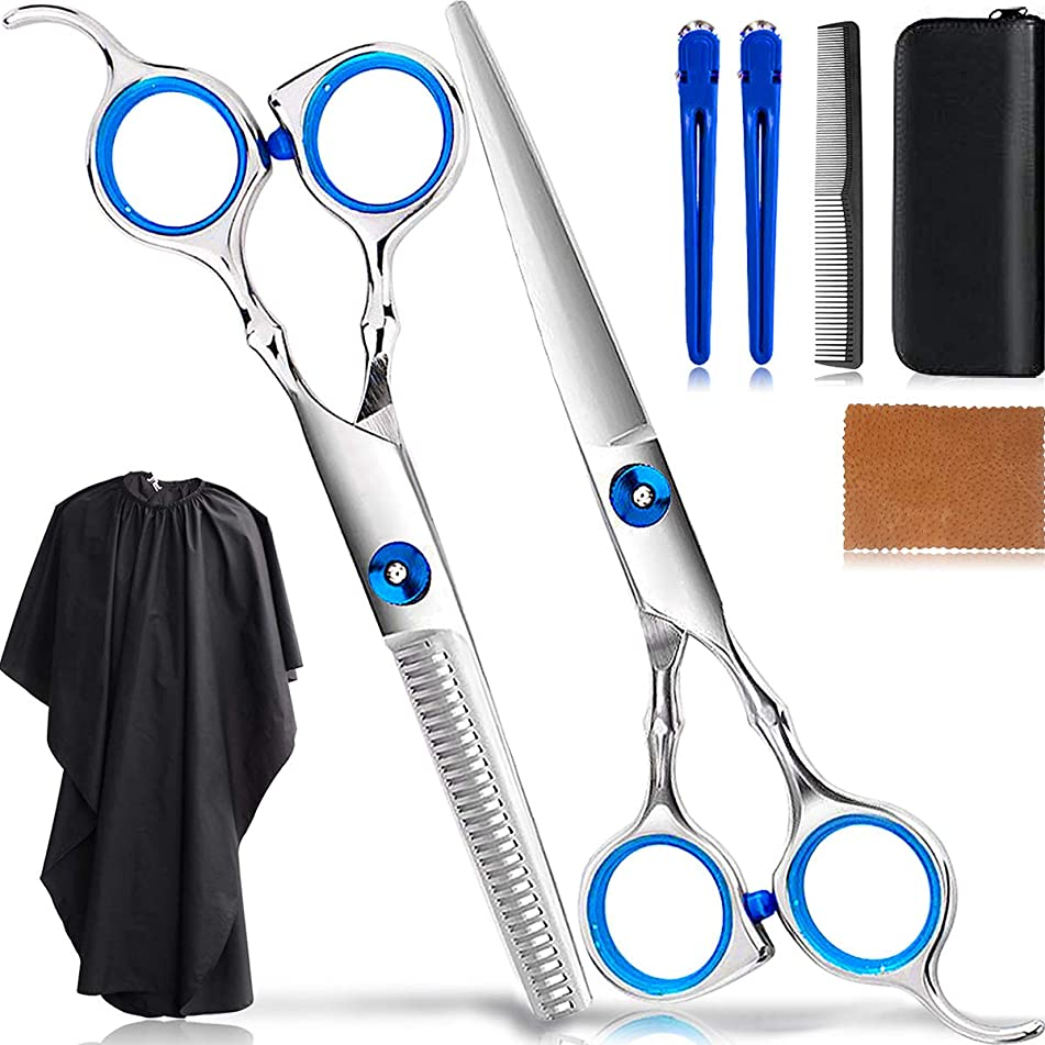 8Pcs Professional Hair Cutting Scissors Set/Hair Thinning Shears Kit/Salon Hairdressing Scissors Barber Tools/Teeth Texturing Texturizing Stainless Steel Sharp Wide Tooth Contain Cape Clips Comb Blue