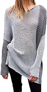 Womens Fashion Pullover Warm Casual Round Neck Color Patchwork Long Sleeve Loose Knitted Jumper Sweater