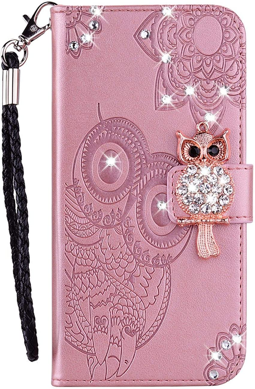 Draamvol Samsung S20 FE Case Leather Protective Flip Wallet Card Slots Bumper with Embossed Diamond Owl Magnetic Clasp Kickstand Cover for Samsung Galaxy S20 FE,Green