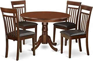 East West Furniture 5Piece Hartland Set with One Round 42in Table & Four Dinette Chairs with Faux Leather Seat in a Beautiful Mahogany Finish