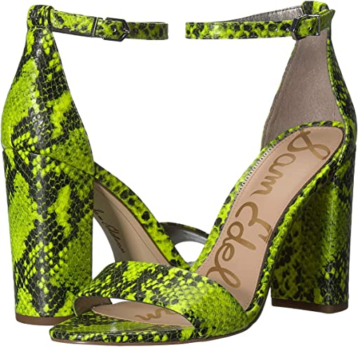 Neon Yellow Snake Print Leather