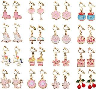 SOTOGO 16 Pairs Clip On Earrings Unicorn Flower Butterfly Earrings for Little Girls and Women