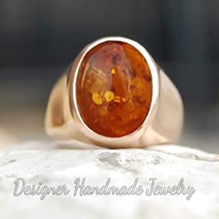 925 Solid Sterling Silver Ring, Baltic Amber Men Ring, Handmade Jewelry, Mens Gemstone Ring, Rose Gold Vermeil Ring, Signet Rose Gold Ring, Birthday Gift Ring