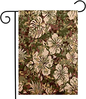 Custom Double Sided Seasonal Garden Flag Camo Aloha Hawaiian Tropical Jungle Forest Hibiscus Flowers Leaves Nature Baby Pink Green Dark Brown Welcome House Flag for Patio Lawn Outdoor Home Decor