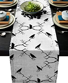 Cotten Line Table Runner Flock of Crows Monochrome Decorative Tablecloth for Halloween, Non-Slip Runners Dinner Parties an...