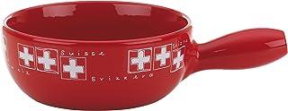 Kela 66582 Uri Caquelon à Fondue à Fromage Céramique Rouge/Blanc 31 x 22 x 9 cm 1 L