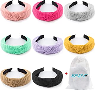EAONE Knotted Headbands for Women Girls 8 Pieces, Top Knot Headband Knitted Head Bands Boho Style Turban Headbands 8 Colors with 1 Pouch Bag