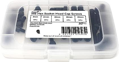 iExcell 50 Pcs M5 x 8mm/12mm/16mm/20mm/25mm 12.9 Grade Alloy Steel Hex Socket Head Cap Screws Bolts Assortment, Black Oxide Finish
