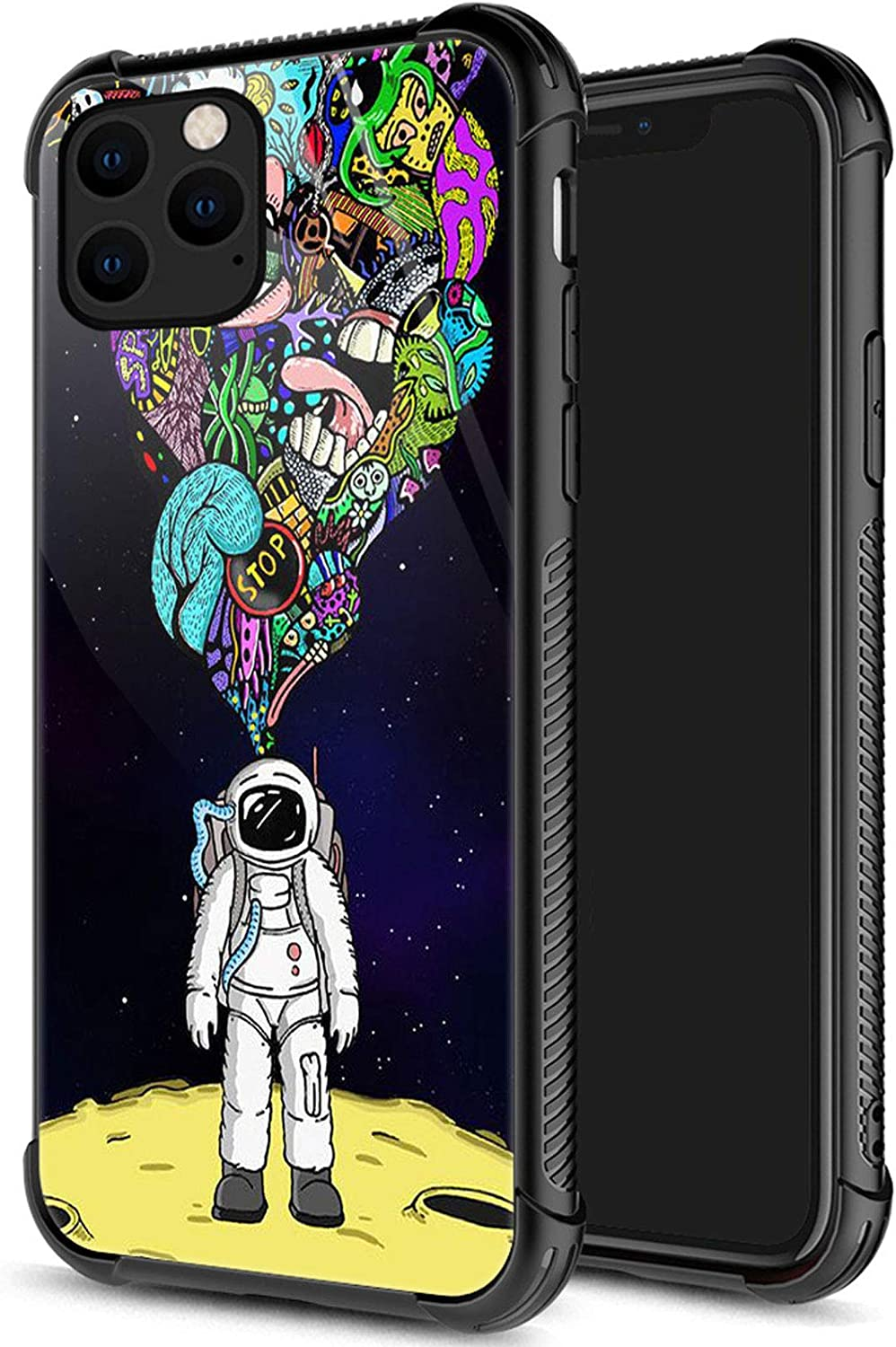 iPhone 12 Case, Space Travel iPhone 12 Cases for Men Boys, Pattern Design Shockproof Anti-Scratch Organic Glass Case for Apple iPhone 12 6.1-inch Space Travel