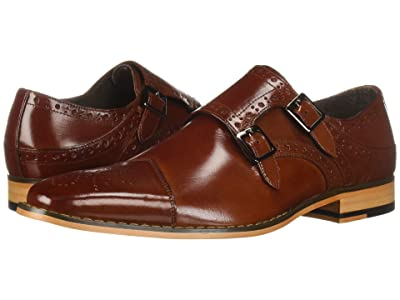 Stacy Adams Tayton Cap Toe Double Monkstrap (Cognac) Men