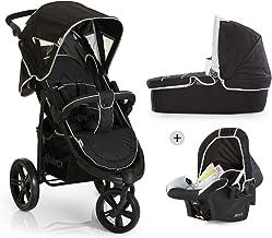 Hauck Viper SLX Trio Set Dreirad Kinderwagen Set bis 25kg ab Geburt mit Babyliegeschale  Babywanne mit Matratze, Liegebuggy, höhenverstellbarer Griff, klein faltbar, leicht, schwarz/grau