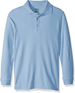 Classroom School Uniforms Boys' Big Youth Unisex Long Sleeve Interlock Polo, sos Light Blue, L