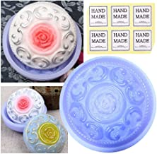 CHAWOORIM Soap Making Tray Molds - 3D Homemade Craft Soap Making Tray Round Shape Handmade Silicone Soap Making Antique Style Molds