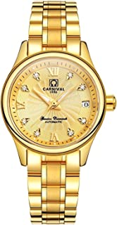Carnival Stainless Steel Automatic Diamond Waterproof Synthetic sapphire Ladies Watches