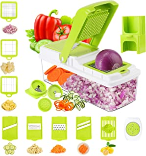 TOROTON Vegetable Chopper Slicer Dicer, 14 in 1 Veggie Food Cutter Onion Chopper Spiralizer Vegetable Slicer, Manual Mandoline for Garlic, Cabbage, Carrot, Potato, Fruits
