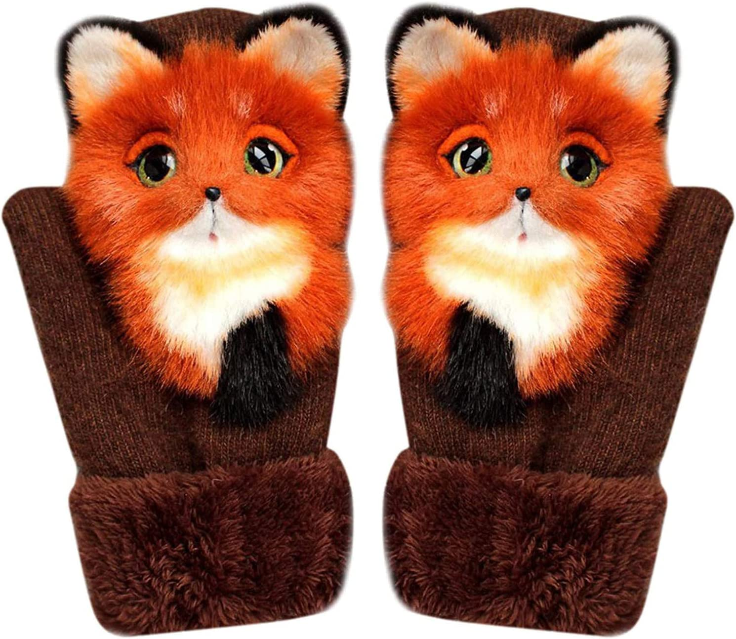WElinks Fashion Winter Warm Women Gloves Plus Velvet Thickened Cute Cat Cartoon Outfit Mittens Girls Gloves (I)