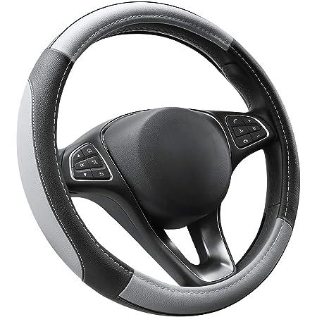 Regali per Donna e Uomo Accessori Auto Interno Copertura di Volante Diametro 37-39 cm Upgrade4cars Coprivolante Auto Universale Grigio in Finta Pelle