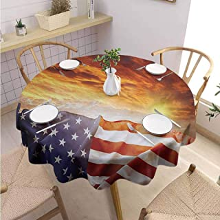Round Tablecloth American Flag Machine Washable Flag in Front of Sunset Sky with Horizon America Union Idyllic Photograph,Round - 36 inch Multicolor