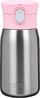 Secura Vacuum Insulated Stainless Steel Straw Water Bottle with Handle, 350ml 12oz, Pink