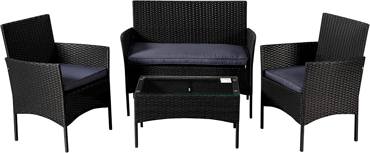 LASBAK 4 Pieces Patio Furniture Inventory cleanup selling sale Set Rattan PE Wicker O Max 84% OFF Sectional