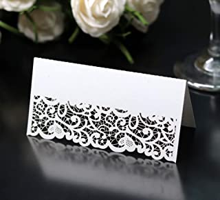 Cozy Villa 25 Pack Table Tent Cards 3.9'' x 3.9'' White Place Name Cards with Laser Cut Border for Party and Event