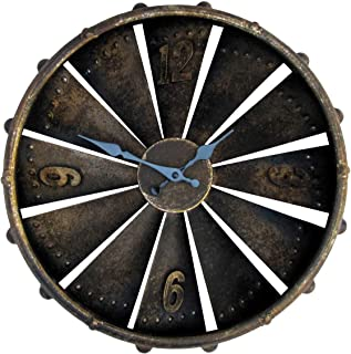 TG,LLC Jet Airpane Engine Turbine Fan Wall Clock Rustic 3D Mantle Decor