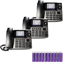 RCA U1000 Unison Base Station - 4 Line Phone Systems for Small Business with Digital Receptionist Bundled with RCA U1100 Wireless Deskphones (2-Pack) and 10 Blucoil AAA Batteries