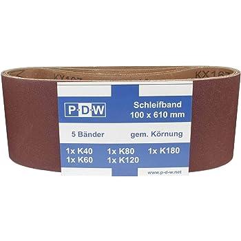 Papier abrasif Lot de 10 bandes abrasives en tissu 100 x 560 mm Pour ponceuse /à bande 2 x grain 40//60//80//120//180