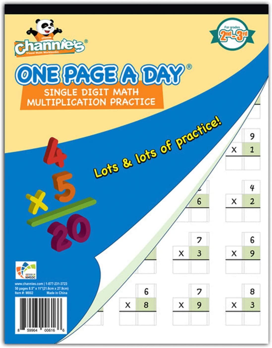 Channie's One Weekly update Page A Day Single Digit Multiplication Beginner Max 48% OFF