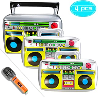 Faxco 4 PCS Inflatable Props, Boom Box Balloons, Inflatable Microphones, Simulated Inflatable Instruments for Party, Show, Decoration, Photograph