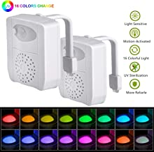 Toilet Lights Motion Detection 2 Pack, Funny 16 Color Change Motion Sensor Activated Bathroom LED Night Lamp Inside Potty Bowl with UV, Scented Aromatherapy Air Freshener for Kids Boys Pee Trainer
