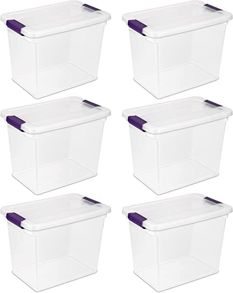 Sterilite 17631706 27 Quart 26 Liter ClearView Latch Box Clear With Sweet Plum Latches 6 Pack