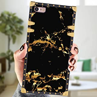 Square Case Compatible iPhone 7 iPhone 8 Case Black Marble Luxury Elegant Soft Shock Protection Case Cover Compatible iPhone 7/8 4.7 Inch