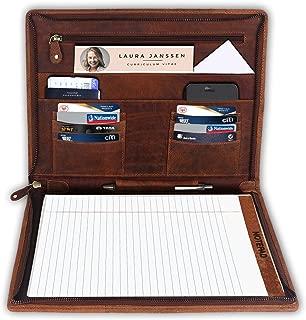 乡村风格 Town A4 皮包 - 皮革公文包法律衬垫尺寸 - iPad 收纳包男女通用(棕色)