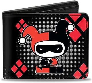 Buckle-Down Men's Wallet Chibi Harley Quinn Splits Dots/diamonds Black/gray/re Accessory, -Multi, One Size