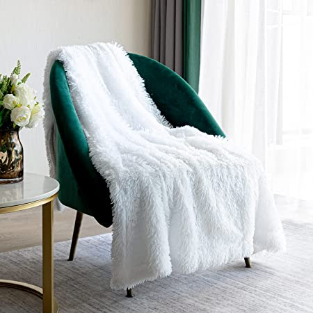 """Faux Fur Throw Blanket 50"""" x 60"""", Super Soft Furry Blanket Lightweight Furry Blanket, Decorative Fluffy Cozy Plush Fleece Fuzzy Shaggy Blanket for Bed, Couch, Sofa"""