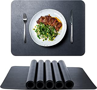 HINOR Lot de 6 sets de table en cuir synthétique noir imperméables 42 x 32 cm ,lavables, adaptés pour les tables de cuisin...
