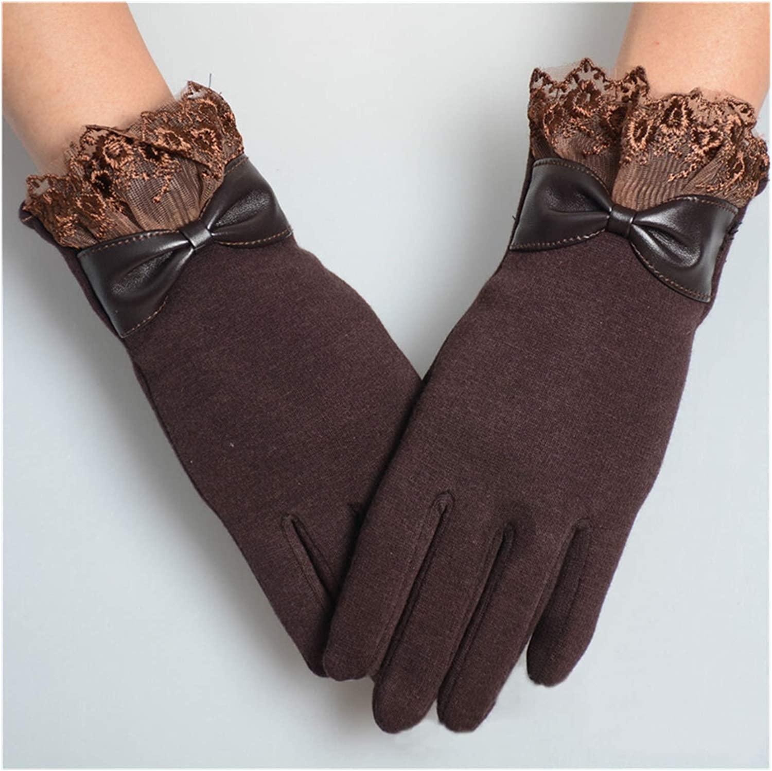 QIANXIMY Bridal Gloves Elegant Womens Gloves Fashion Winter Warm Bow Soft Wrist Lace Gloves Mittens Cashmere Full Finger (Color : Coffee, Gloves Size : One Size)