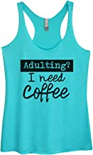 """Women's Funny Saying Triblend """"Adulting? I Need Coffee"""" Workout Tank Top"""