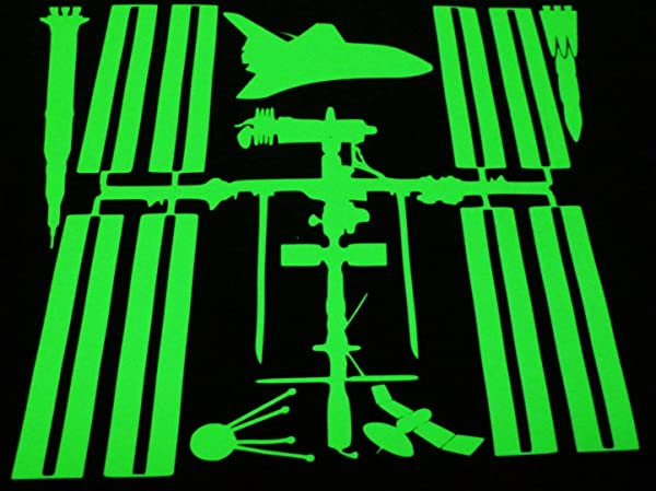 International Space Station Ultra Bright Glow In The Dark Decal Saturn V Shuttle