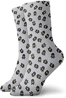 Calcetines deportivos transpirables para hombres y mujeres Calcetines tobilleros de dibujos animados Ninja Calcetines de compresión de vestido corto 30 cm