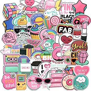 Floranea 105 Pcs Cute Girl Stickers Vinyl Lovely Pink Adorable Waterproof Stickers for Kid Teen Laptop Phone Guitar Computer Water Bottles Skateboard Bike Motorcycle Journal Scrapbooking