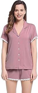 Joyaria Women's Button Down Pajama Set Super Soft Pjs Viscose Sleepwear
