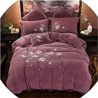 awret Flowers Embroidery Winter Thick Velvet Flannel Bedding Set Duvet Cover Bed Linen/Sheet Pillowcase,3,Queen Size 4Pcs
